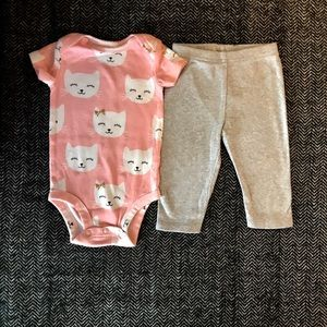 Other - 2 Carters matching leggings and onesies sets